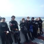 沖縄ダイビング 2/17 サンゴ体験ダイビング たく・ゆうき・えりな・しおん・りょうけん