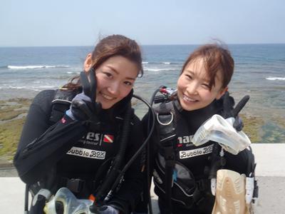 沖縄ダイビング☆4/30 エンジョイ体験ダイビング Bコース しおん・とも